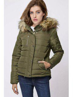 Solid Color Hooded Zipper Embellished Padded Coat - Army Green S