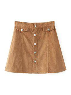 Single-Breasted Corduroy A Line Skirt - Khaki S