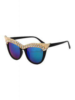 Rhinestone Cat Eye Sunglasses - Deep Blue