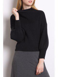 High Collar Puff Sleeve Loose Sweater - Black