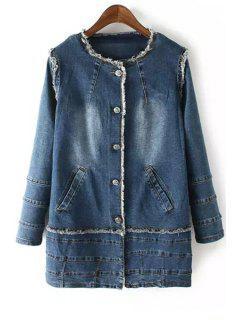 Denim Jewel Neck Long Sleeve Coat - Deep Blue S