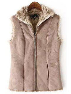 Fur Collar Solid Color Waistcoat - Shallow Pink L