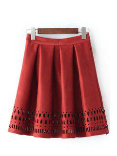 Hollow Out A Line Skirt - Red S