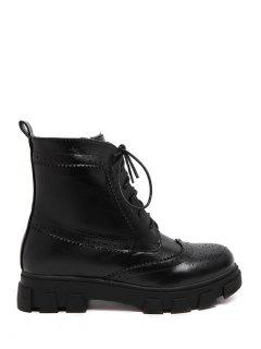 Engraving Dark Color Lace-Up Short Boots - Black 35