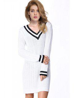 Hit Color V-Neck Long Sleeve Sweater Dress - White Xl