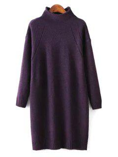 Half-Collar Loose-Fitting Sweater Dress - Deep Purple