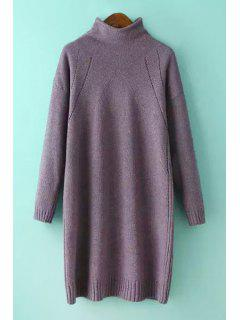 Half-Collar Loose-Fitting Sweater Dress - Light Purple