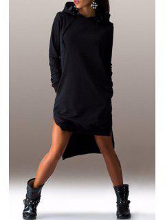 High Low Hooded Long Sleeve Dress - Black Xl