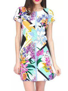 Short Sleeve Floral Print Colorful Dress - S