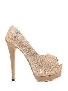 Sequined Cloth Platform Peep Toe Shoes - Champagne 36
