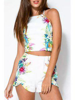 Cami Floral Print Tank Top And Shorts Suit - White L