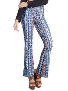 High-Waisted Printed Bell Bottoms - Blue S