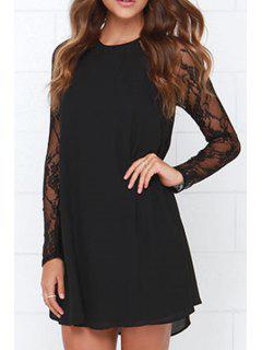 Lace Splicing Black Long Sleeves Dress - Black S