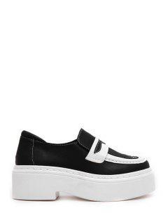 Color Block Stitching Slip-On Platform Shoes - Black 39