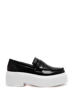 Stitching Solid Color Slip-On Platform Shoes - Black 37