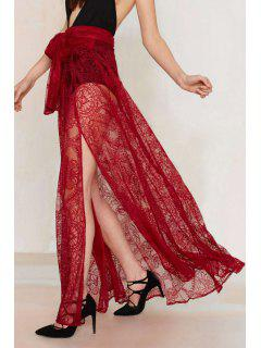 See-Through High Waisted Red Lace Skirt - Red S