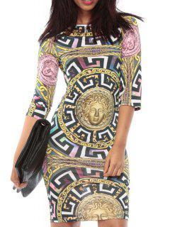 Printed Bodycon Round Collar 3/4 Sleeve Dress - S