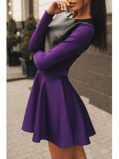Combined PU Leather Winter Dress - Purple Xl