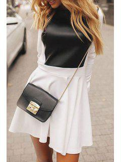 Combined PU Leather Winter Dress - White L
