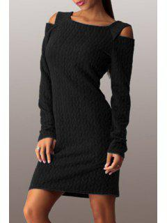 Square Neck Cut Out Thermal Dress - Black S