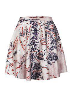 High Waisted Digital Print Pleated Skirt