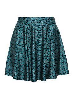 High Waisted Fish Scale Print Umbrella Skirt - Green