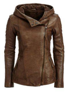 Hooded Zip Pockets PU Leather Jacket - Coffee L