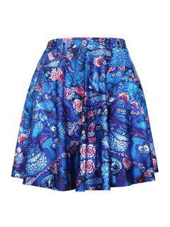Digital Print Pleated Ball Gown Skirt - Blue