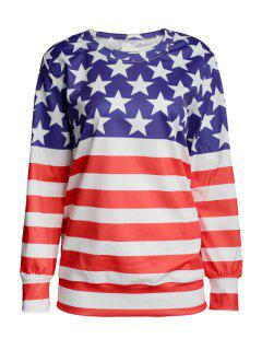 Round Neck American Flag Print Sweatshirt - Blue And Red