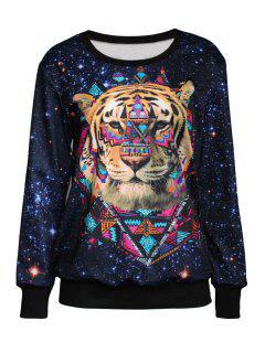 Tiger Print Jewel Neck Long Sleeve Sweatshirt - Black