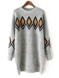 Argyle Jacquard Round Collar Sweater - Gray