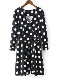 Polka Dot V-Neck Bowtie Self Tie Dress - Black L