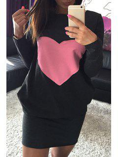 Long Sleeve Heart Pattern Dress - Black M