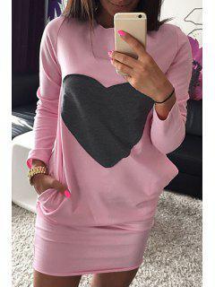 Long Sleeve Heart Pattern Dress - Pink S