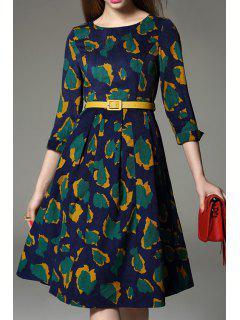 Print Jewel Neck 3/4 Sleeve Midi Dress - Green M