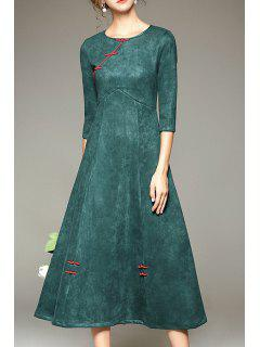 Pure Color Vintage 3/4 Sleeve Dress - Green S