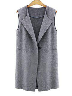 One Button Solid Color Wool Waistcoat - Gray 5xl