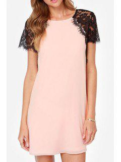 Lace Spliced Round Collar Short Sleeve Dress - Pink 5xl