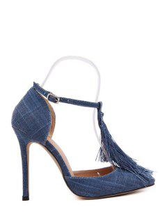 Tassel Pointed Toe T-Strap Pumps - Deep Blue 38