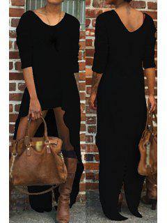 Long Sleeve High Low Thermal Dress - Black M