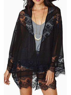 Long Sleeve Lace Black Blouse - Black L