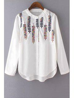 Leaf Embroidery Round Neck Long Sleeve Shirt - White L