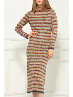 Stripe Stand Neck Long Sleeve Sweater Dress - Yellow 2xl