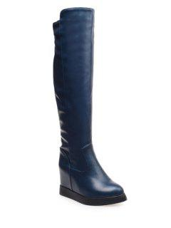 Hidden Wedge Solid Color Knee-High Boots - Blue 39