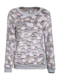 Color Mix Round Neck Long Sleeve Sweatshirt - Gray Xl