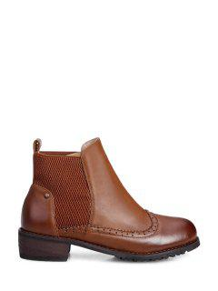 Elastic Band Solid Color Engraving Short Boots - Brown 41