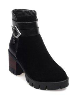 Chunky Heel Solid Color Splicing Short Boots - Black 41