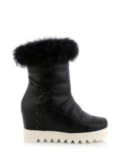 Stitching Faux Fur Hidden Wedge Short Boots - Black 43