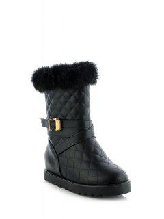 Faux Fur Buckle Checked Short Boots - Black 39