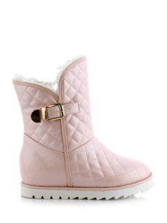 Buckle Checked Stitching Short Boots - Pink 37